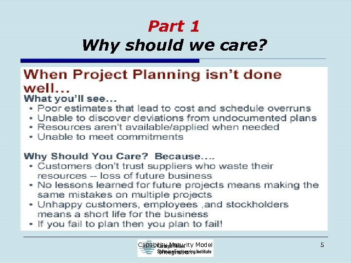 Part 1 Why should we care? Capability Maturity Model Integration 5