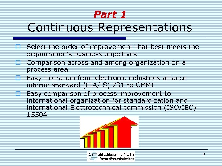 Part 1 Continuous Representations o Select the order of improvement that best meets the