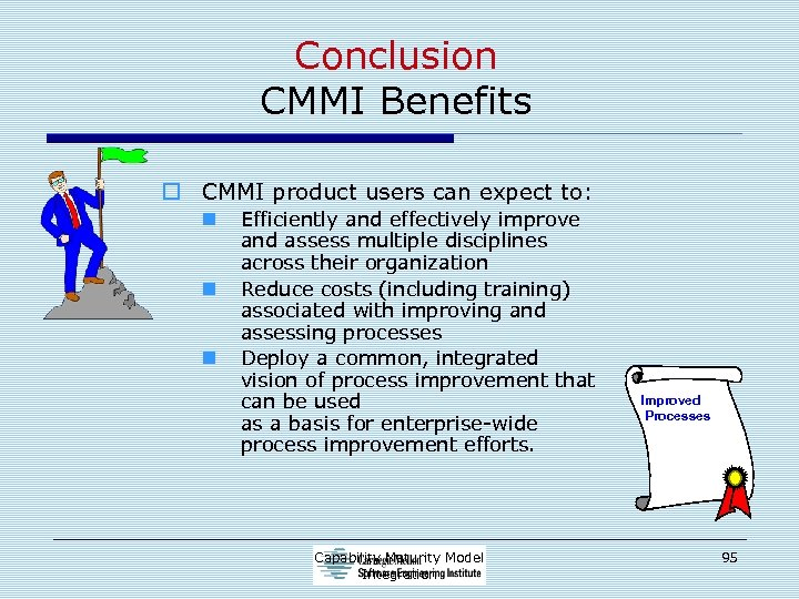 Conclusion CMMI Benefits o CMMI product users can expect to: n n n Efficiently