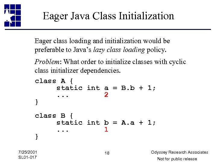 Eager Java Class Initialization Eager class loading and initialization would be preferable to Java's