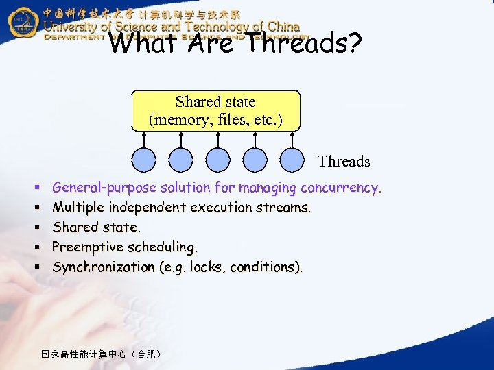 What Are Threads? Shared state (memory, files, etc. ) Threads § § § General-purpose