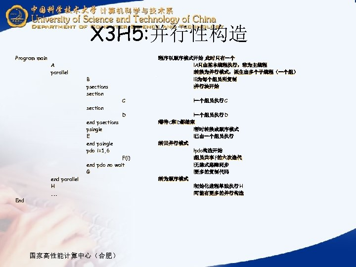 X 3 H 5: 并行性构造 Program main A parallel B psections section end psections