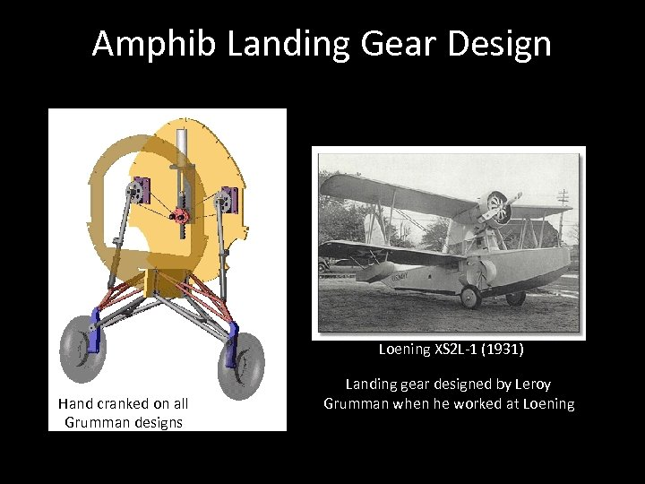 Amphib Landing Gear Design Loening XS 2 L-1 (1931) Hand cranked on all Grumman