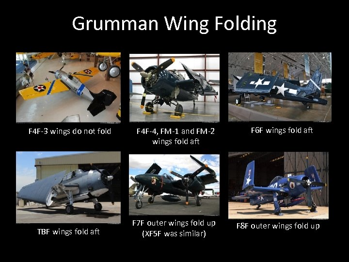 Grumman Wing Folding F 4 F-3 wings do not fold TBF wings fold aft