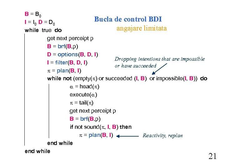 B = B 0 Bucla de control BDI I = I 0 D =