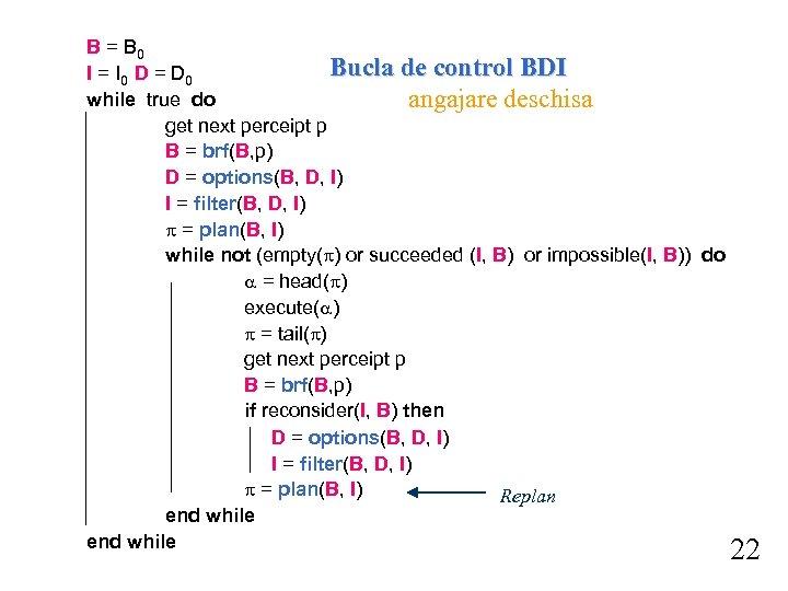 B = B 0 Bucla de control BDI I = I 0 D