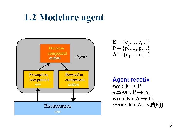 1. 2 Modelare agent Decision component action Perception component see Agent Execution component action