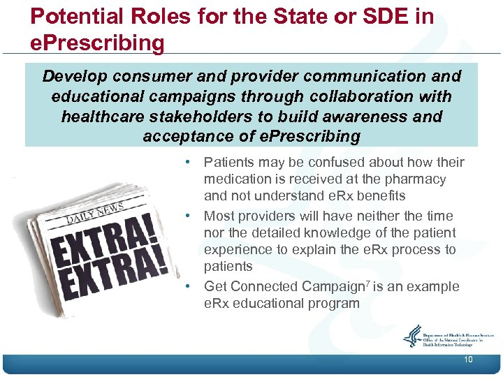Potential Roles for the State or SDE in e. Prescribing Develop consumer and provider