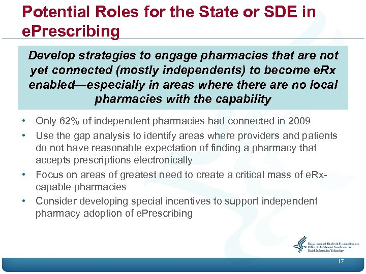 Potential Roles for the State or SDE in e. Prescribing Develop strategies to engage