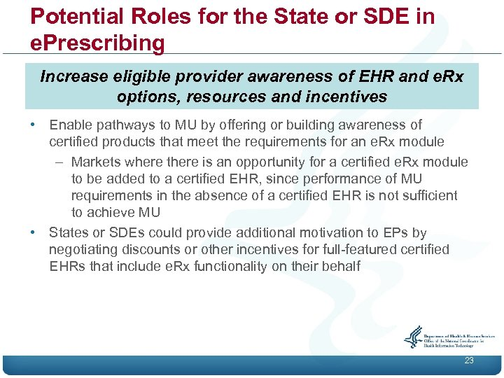Potential Roles for the State or SDE in e. Prescribing Increase eligible provider awareness