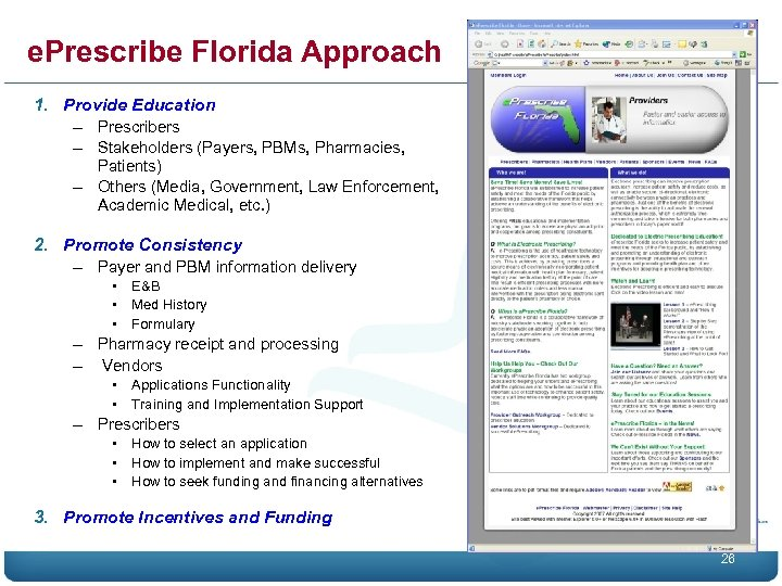 e. Prescribe Florida Approach 1. Provide Education – Prescribers – Stakeholders (Payers, PBMs, Pharmacies,