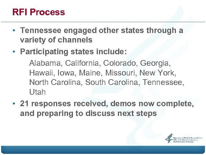 RFI Process • Tennessee engaged other states through a variety of channels • Participating
