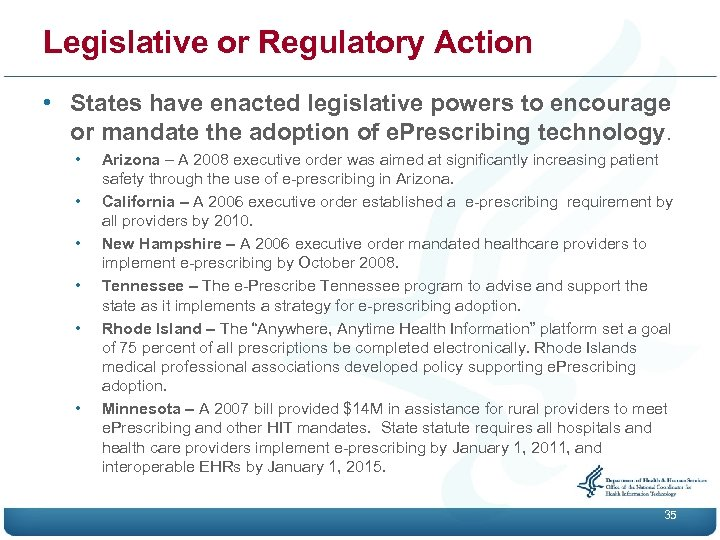 Legislative or Regulatory Action • States have enacted legislative powers to encourage or mandate