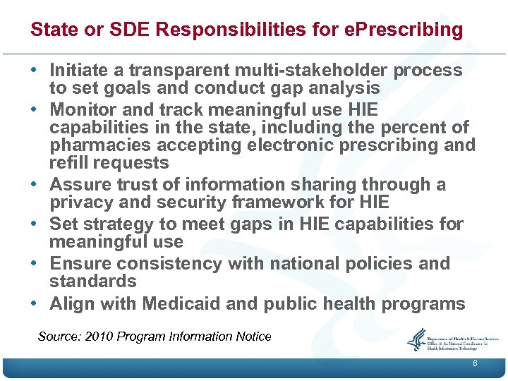 State or SDE Responsibilities for e. Prescribing • Initiate a transparent multi-stakeholder process to