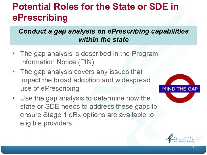 Potential Roles for the State or SDE in e. Prescribing Conduct a gap analysis