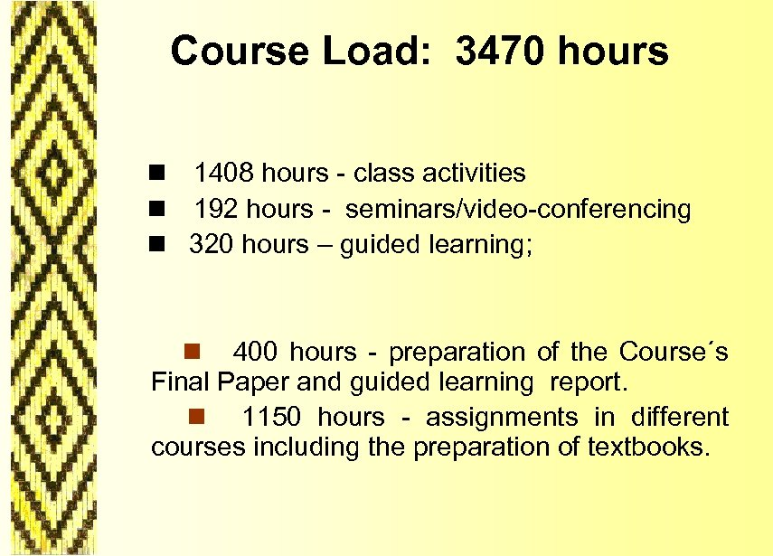 Course Load: 3470 hours n 1408 hours - class activities n 192 hours -