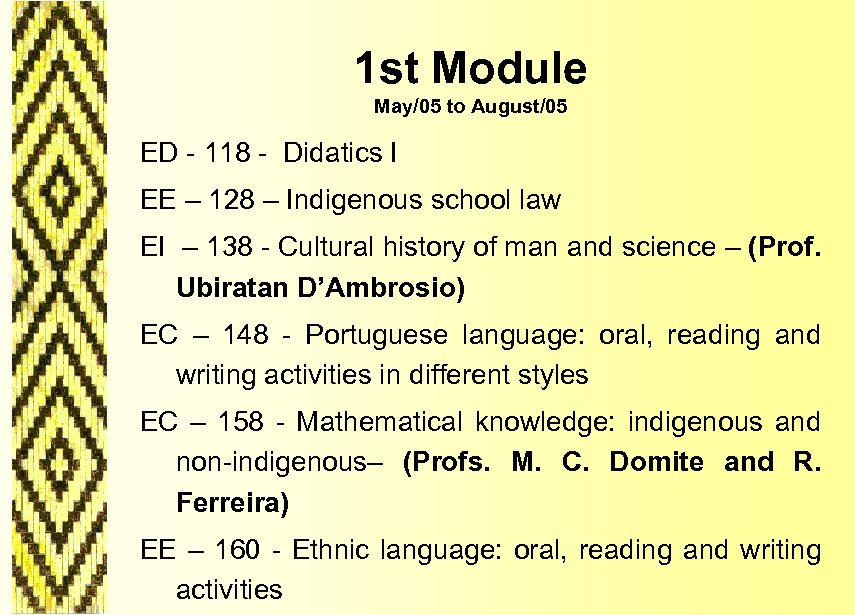 1 st Module May/05 to August/05 ED - 118 - Didatics I EE –