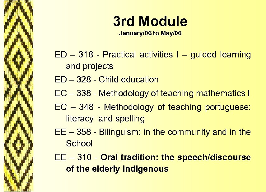 3 rd Module January/06 to May/06 ED – 318 - Practical activities I –