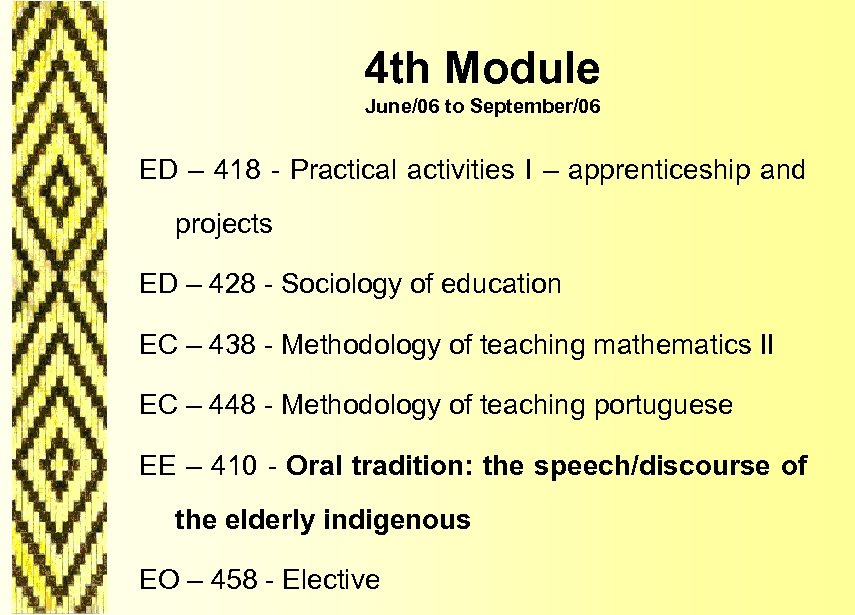 4 th Module June/06 to September/06 ED – 418 - Practical activities I –
