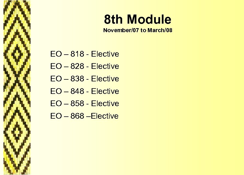 8 th Module November/07 to March/08 EO – 818 - Elective EO – 828