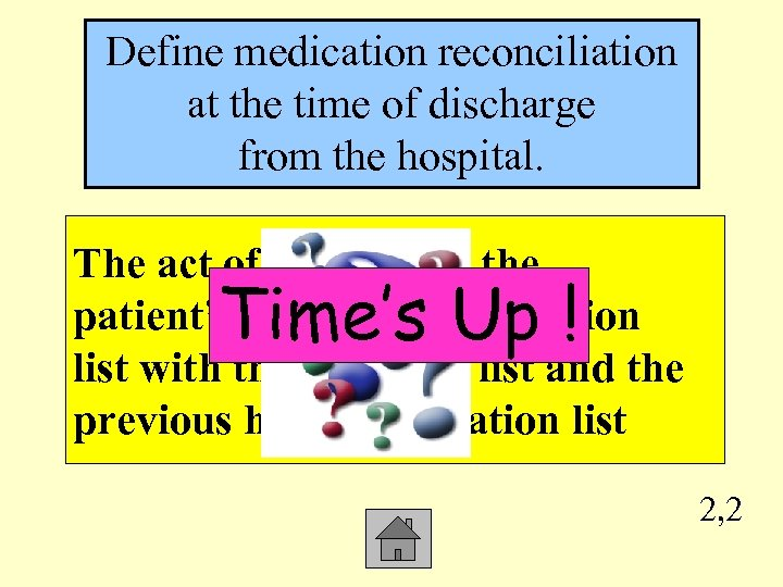Define medication reconciliation at the time of discharge from the hospital. The act of