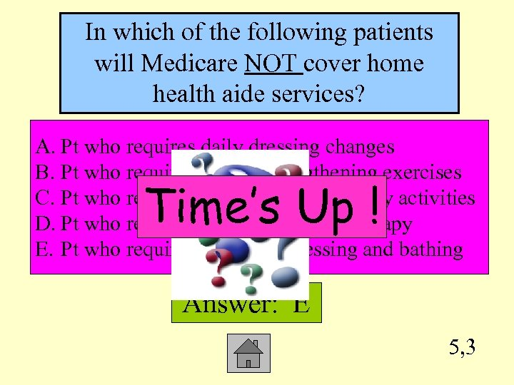 In which of the following patients will Medicare NOT cover home health aide services?