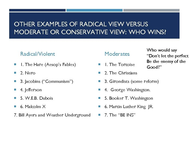 OTHER EXAMPLES OF RADICAL VIEW VERSUS MODERATE OR CONSERVATIVE VIEW: WHO WINS? Radical/Violent Moderates