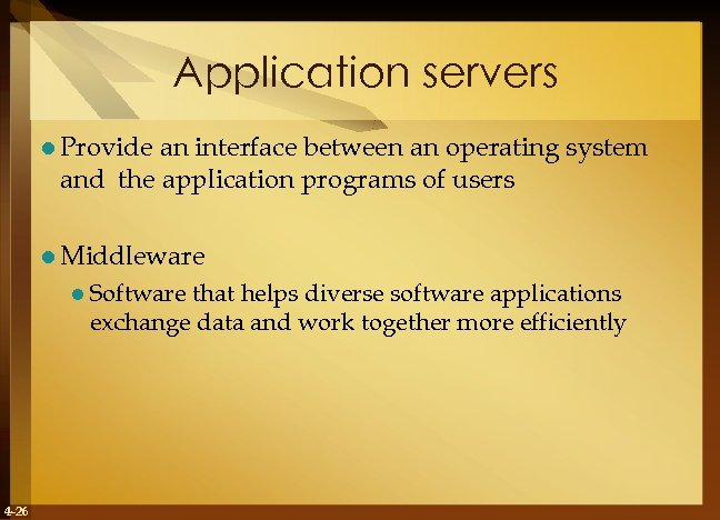 Application servers l Provide an interface between an operating system and the application programs