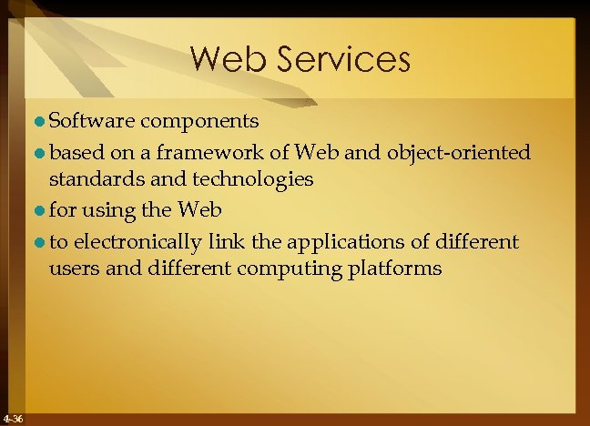 Web Services l Software components l based on a framework of Web and object-oriented