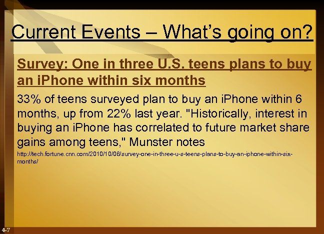 Current Events – What's going on? Survey: One in three U. S. teens plans