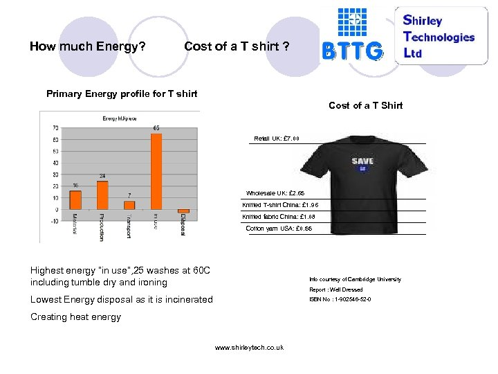 How much Energy? Cost of a T shirt ? Primary Energy profile for T