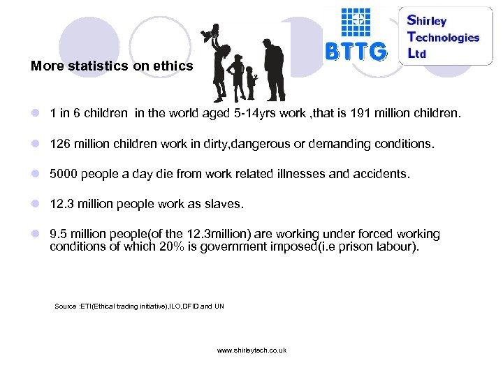 More statistics on ethics l 1 in 6 children in the world aged 5