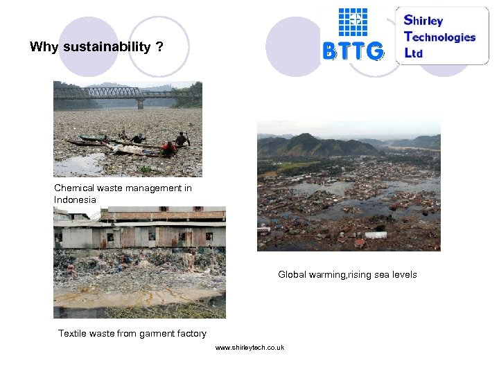 Why sustainability ? Chemical waste management in Indonesia Global warming, rising sea levels Textile