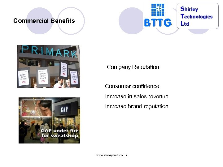 Commercial Benefits Company Reputation Consumer confidence Increase in sales revenue Increase brand reputation www.