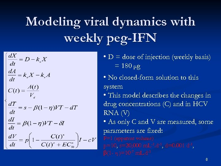 Modeling viral dynamics with weekly peg-IFN • D = dose of injection (weekly basis)