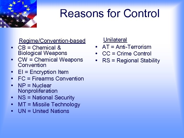 Reasons for Control • • Regime/Convention-based CB = Chemical & Biological Weapons CW =