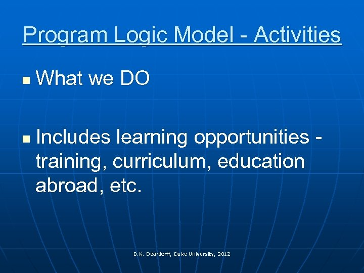 Program Logic Model - Activities n n What we DO Includes learning opportunities -