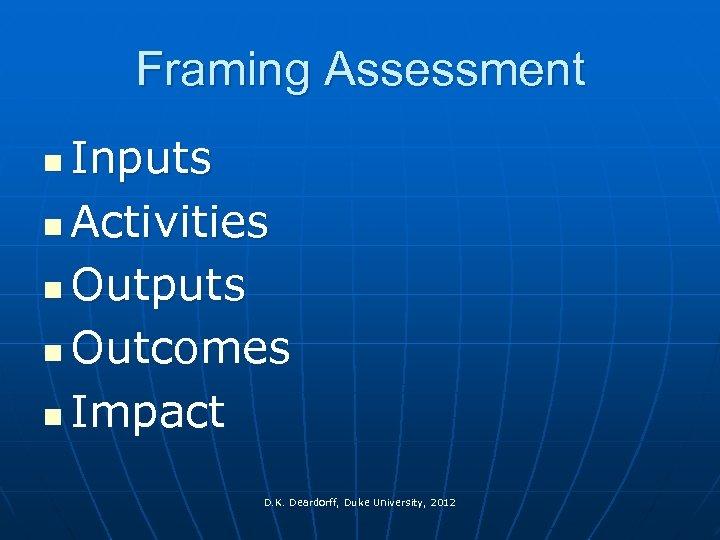 Framing Assessment Inputs n Activities n Outputs n Outcomes n Impact n D. K.