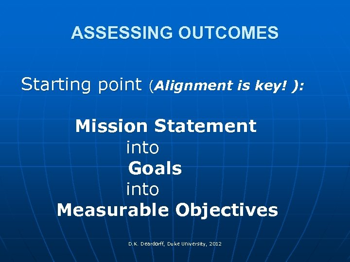 ASSESSING OUTCOMES Starting point (Alignment is key! ): Mission Statement into Goals into Measurable