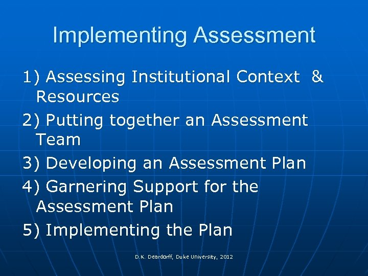 Implementing Assessment 1) Assessing Institutional Context & Resources 2) Putting together an Assessment Team