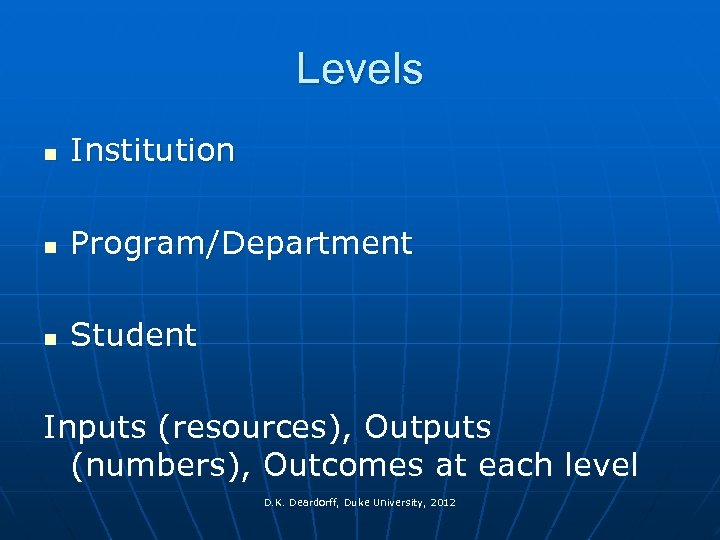Levels n Institution n Program/Department n Student Inputs (resources), Outputs (numbers), Outcomes at each
