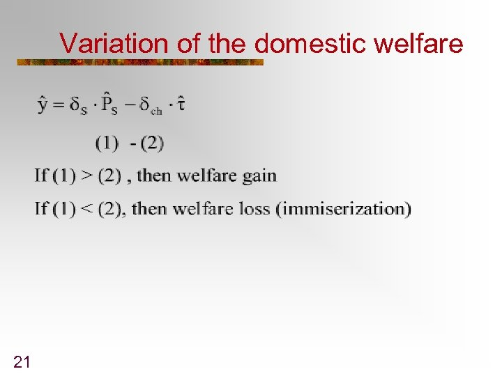 Variation of the domestic welfare 21