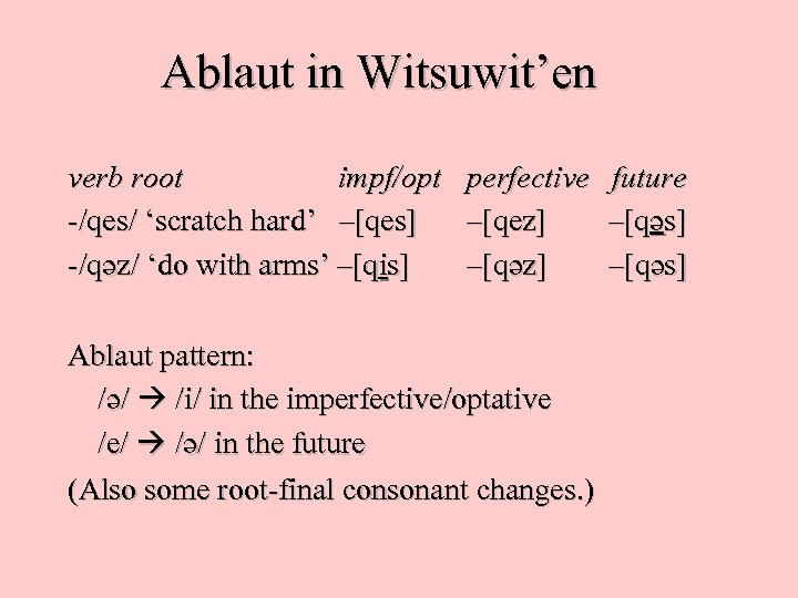 Ablaut in Witsuwit'en verb root impf/opt -/qes/ 'scratch hard' –[qes] -/q «z/ 'do with