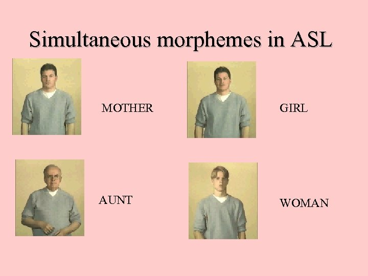 Simultaneous morphemes in ASL MOTHER GIRL AUNT WOMAN