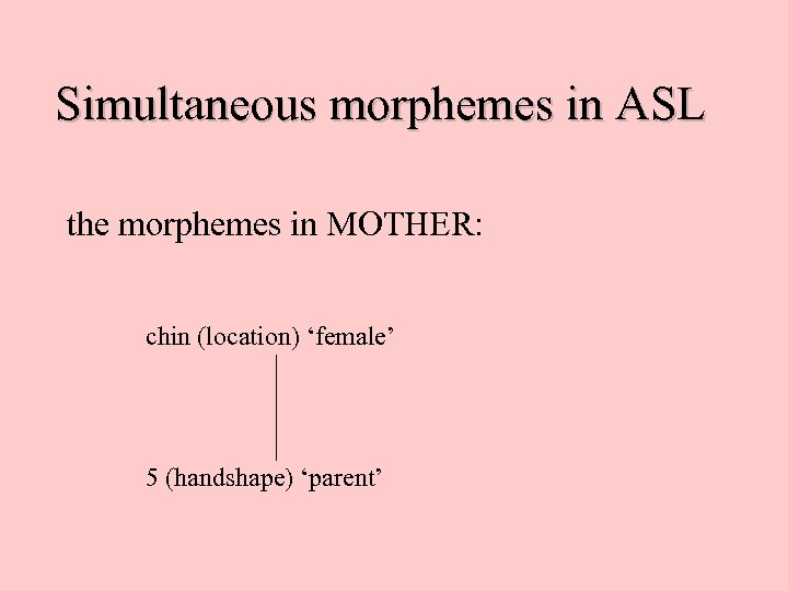 Simultaneous morphemes in ASL the morphemes in MOTHER: chin (location) 'female' 5 (handshape) 'parent'