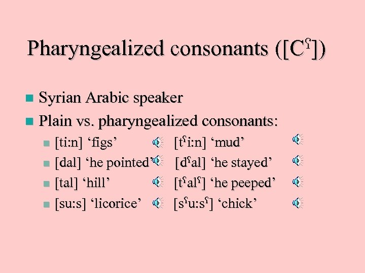 Pharyngealized consonants ]) ([C Syrian Arabic speaker n Plain vs. pharyngealized consonants: n [ti: