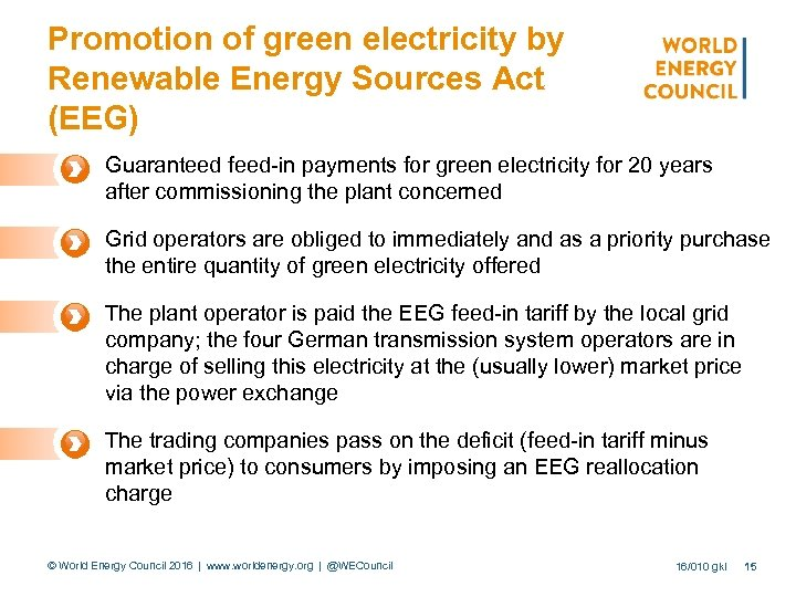 Promotion of green electricity by Renewable Energy Sources Act (EEG) Guaranteed feed-in payments for