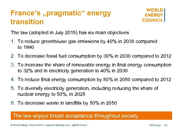 "France's ""pragmatic"" energy transition The law (adopted in July 2015) has six main objectives"
