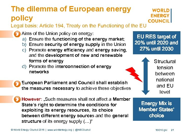 The dilemma of European energy policy Legal basis: Article 194, Treaty on the Functioning