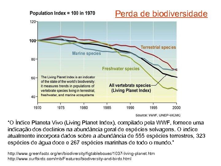 """Perda de biodiversidade """"O Índice Planeta Vivo (Living Planet Index), compilado pela WWF, fornece"""